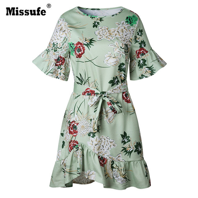 Missufe O Neck Bandage Floral Printed Beach Dress For Women Flare Sleeve Irregular Boho Clothing Casual Mini Summer Dress