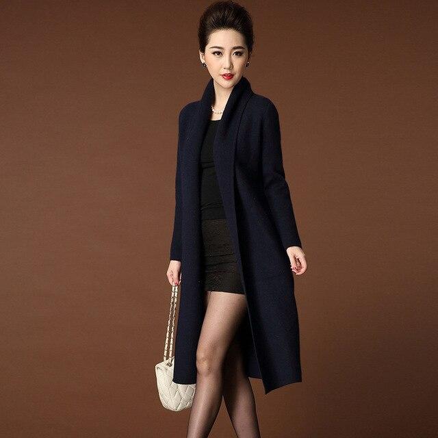 Новая осень и зима женщины теплый толстый бархат норки пальто куртка большой ярдов длинный участок рыхлой кардиган do381