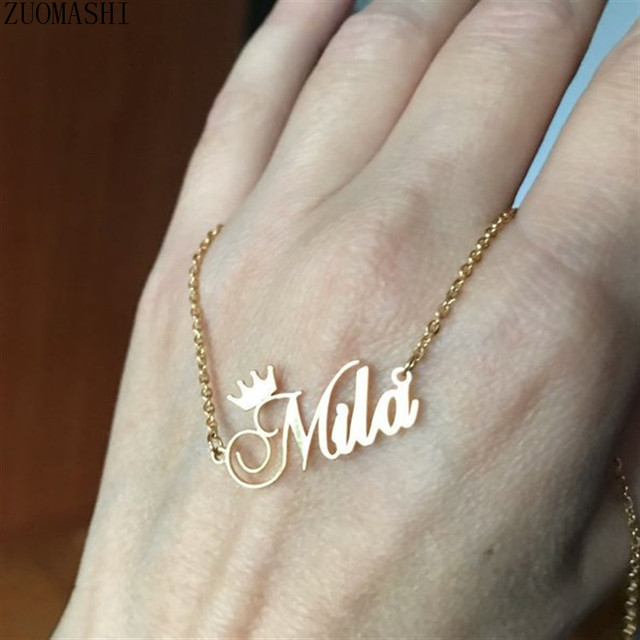 Personalized Name Crown Necklace Stainless Steel Charm Custom Name Jewelry Any Name Lots Of Font Style To Choose For Girls Kids