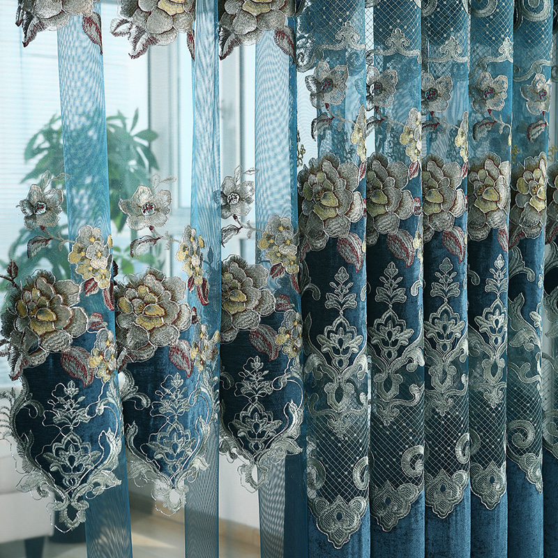 European Villa Polyester Cotton Material Tulle Curtains Living Room Bedroom Flower Pattern Embroidered Curtain Custom in Curtains from Home Garden