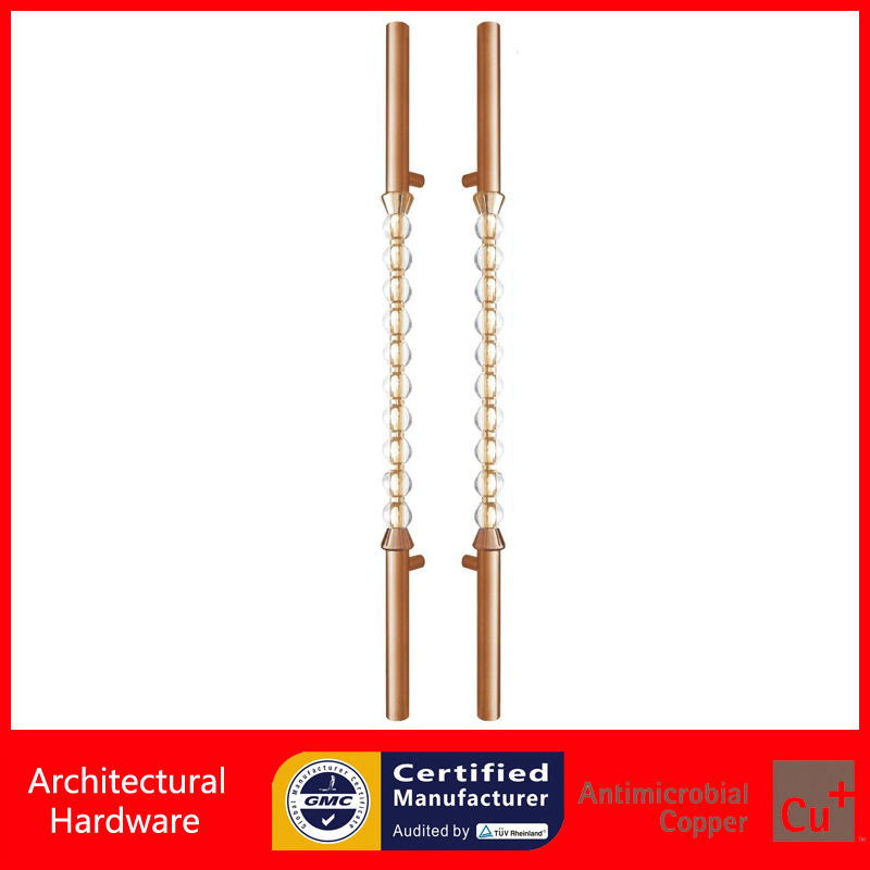 Luxurious Clear Crystal Pull Handle Rose Gold Color Entrance Door Handles For Entry/Front Wooden/Metal Doors PA-496-80*1800mm antimicrobial environmental wood pull handle pa 710 entrance door handles for entry glass shop store doors