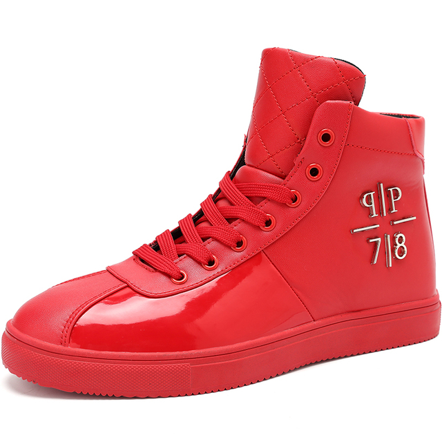 New Fashion Mens Casual Shoes PU Leather High-top Ankle Boots Hip Hop Personality Sapatos Masculinos Botines Hombre Botines