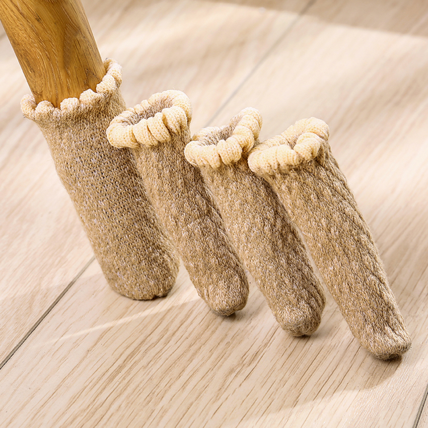 4 PCS/Lot Thickened Chair Leg Socks Chair Leg Knitting Cover Non Slip Furniture Table Foot Cover Floor Protector Stretchable