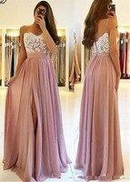 Blush Pink Lace 2019 Arabic Beach Bridesaid Dresses Spaghetti A line Wedding Guest Dresses High Split Chiffon Party Gowns