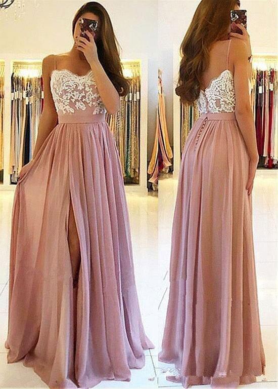 Blush rose dentelle 2019 arabe plage robes de demoiselles d'honneur Spaghetti a-ligne robes de mariée invités haute fente en mousseline de soie robes de soirée