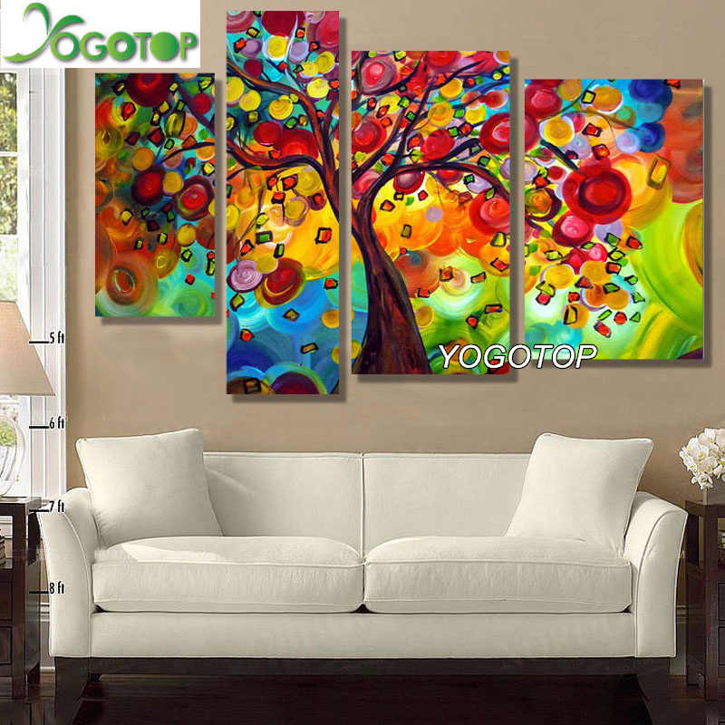 YOGOTOP Diy Diamond Painting Cross Stitch Kit Full Diamond Embroidery 5D Diamond Mosaic Home Decor The Life Tree 4pcs/set ML039