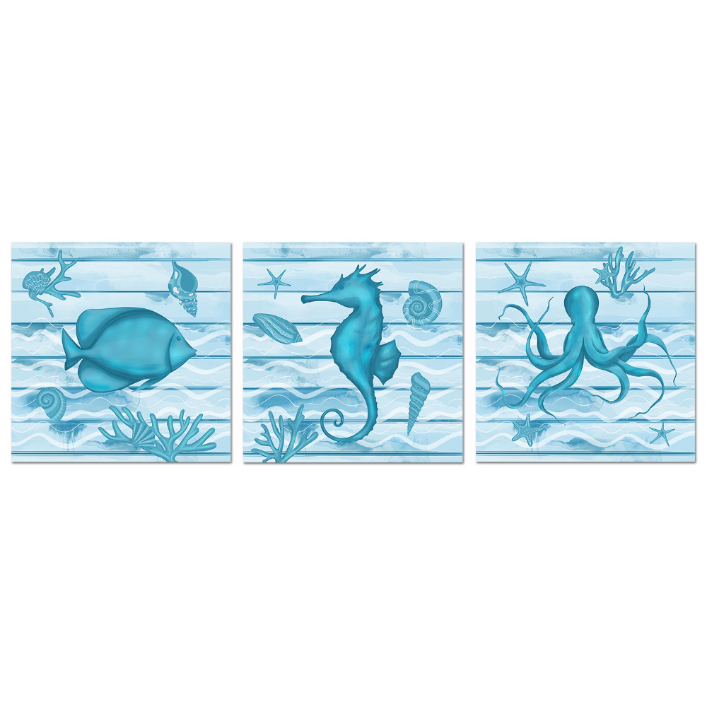 Bathroom Wall Art Blue Ocean Sea Pictures Octopus Coral