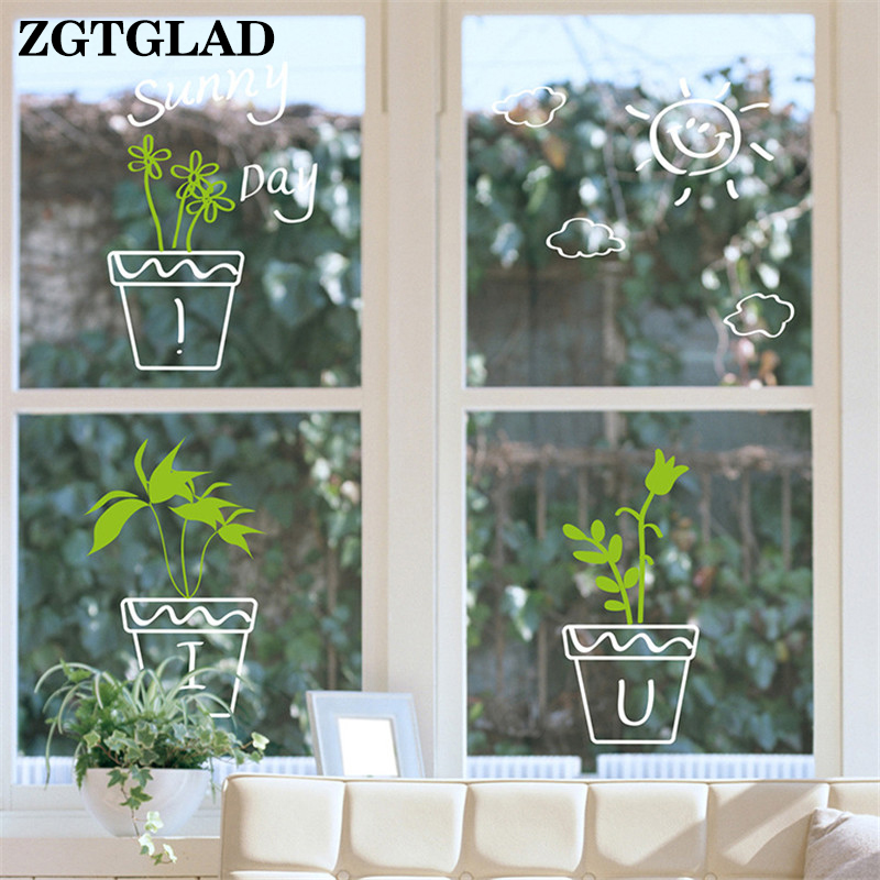 Buy DIY Wall Stickers Home Decor Potted Flower Pot glass Kitchen Window Glass Bathroom Decals Waterproof Bedroom Home Window Decor for $1.58 in AliExpress store