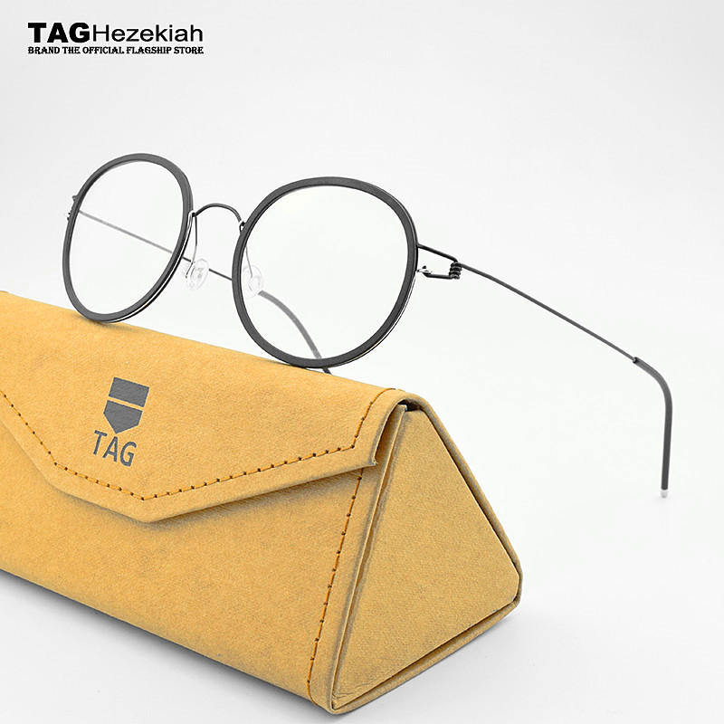 2019 TAG Brands Retro Glasses Frame Men Titanium Pure Hand-made Eyeglasses Frames Women Spectacles Myopia Screwless Eyewear