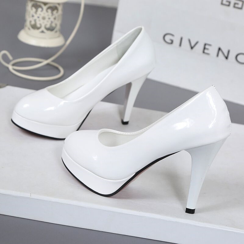 10CM high heeled shoes waterproof platform sexy fine with round head feet Korean women's shoes patent leather large size s071