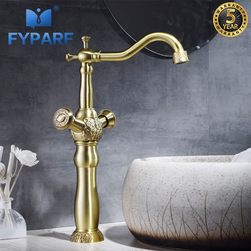 FYPARF Bathroom Faucet Sink Faucet Vintage Mixer Water Double Handle Cold and Hot Basin Faucets Products for Bathroom Water Tap fyparf waterfall bathroom faucet single handle sink faucet hot cold bathroom water mixer tap brass wall mounted basin faucets