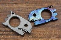 Shark Titanium EDC Multi-purpose Tool Card Tactical Defense Corkscrew Crowbar Nails 6mm Hex Wrench Bottle Opener