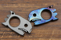 Shark Titanium EDC Multi Purpose Tool Card Tactical Defense Corkscrew Crowbar Nails 6mm Hex Wrench Bottle