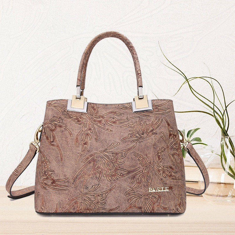 Luxury Top Layer Genuine Leather Women's Bag Fashion Butterfly Embossing Pattern Shoulder Bag Crossbody bag #7P0808 plus size cold shoulder rose pattern top