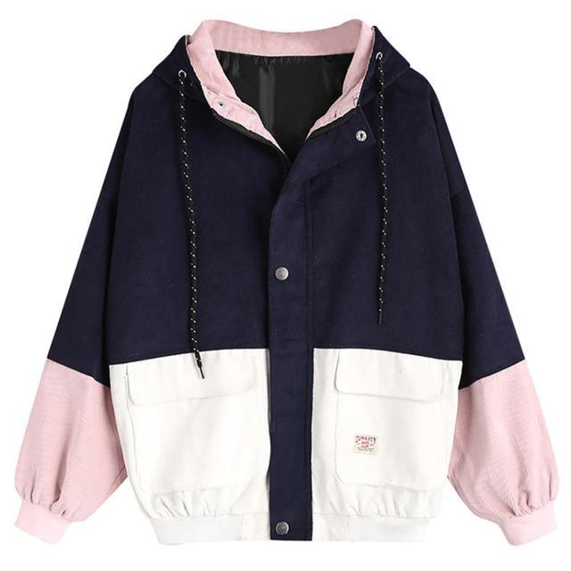Long Sleeve Corduroy Patchwork Oversize Zipper Jacket Windbreaker coats and jackets women 5