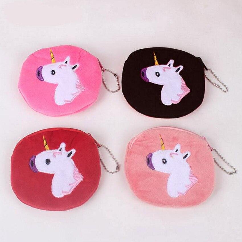 M241 Cute Cartoon Coin Purse Unicorn Of Originality Plush Zipper Wallet Card Bag Girl Women Student Gift Wholesale