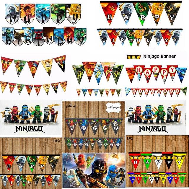 8 Style Ninjago personnalisé bannière Ninjago thème fête d