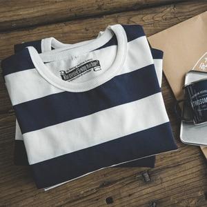 Image 5 - 魔伝メンズカジュアルプルオーバークルーネックロングスリーブストライプコットン Tシャツ青と白