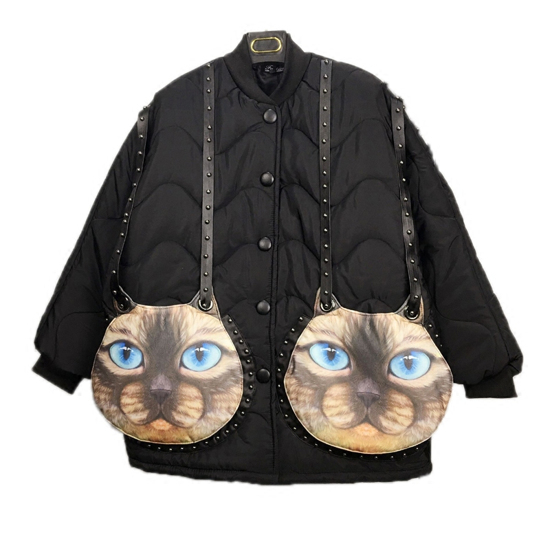 Batwing Sleeve Thick Jackets Winter Fashion Chains Rivet Decorate Cat Head Large Pockets Cotton padded Jacket