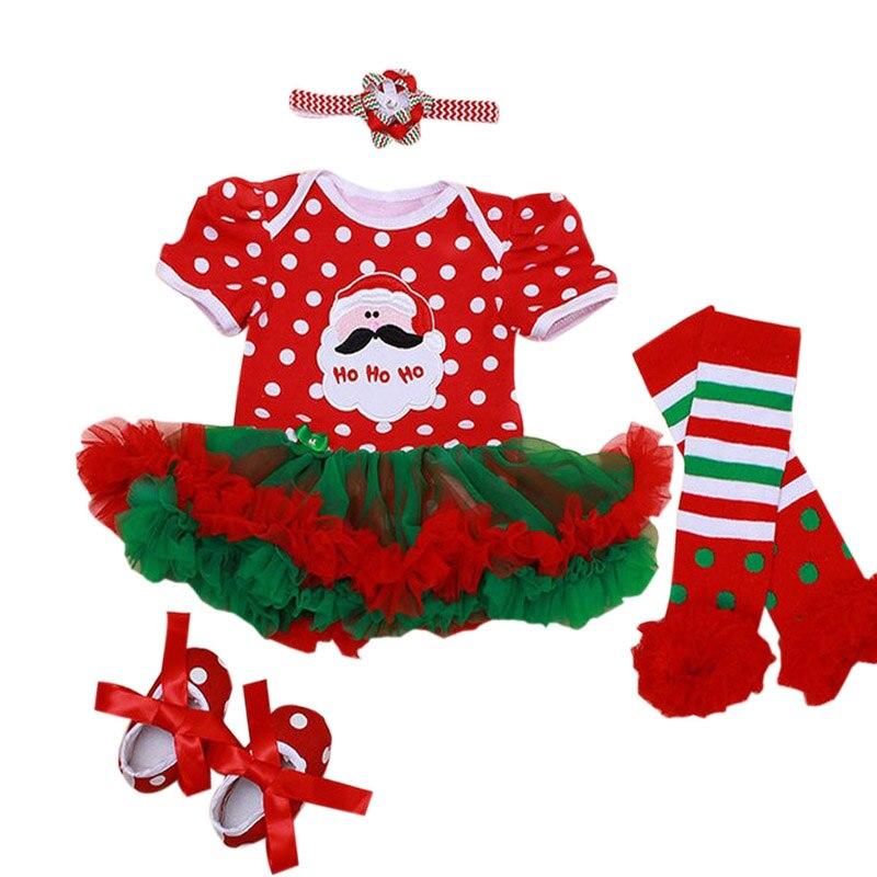 4PCs per Set Baby Girls Christmas Dress Santa Polka Dots Tutu Dress Flower Headband Shoes Leggings for 0 12months Free Shipping|shoe leggings|baby girl christmas dresses|dress dress dress - title=
