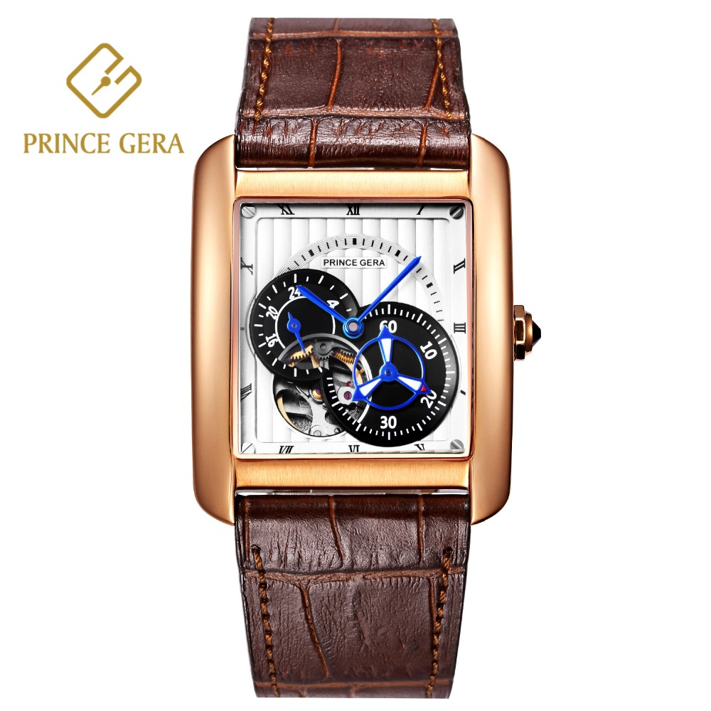 PRINCE GERA Top Classic Tank Mens Automatic Watch Sapphire Scratch-proof Skeleton Mechanical Self-wind Business Mens WatchPRINCE GERA Top Classic Tank Mens Automatic Watch Sapphire Scratch-proof Skeleton Mechanical Self-wind Business Mens Watch