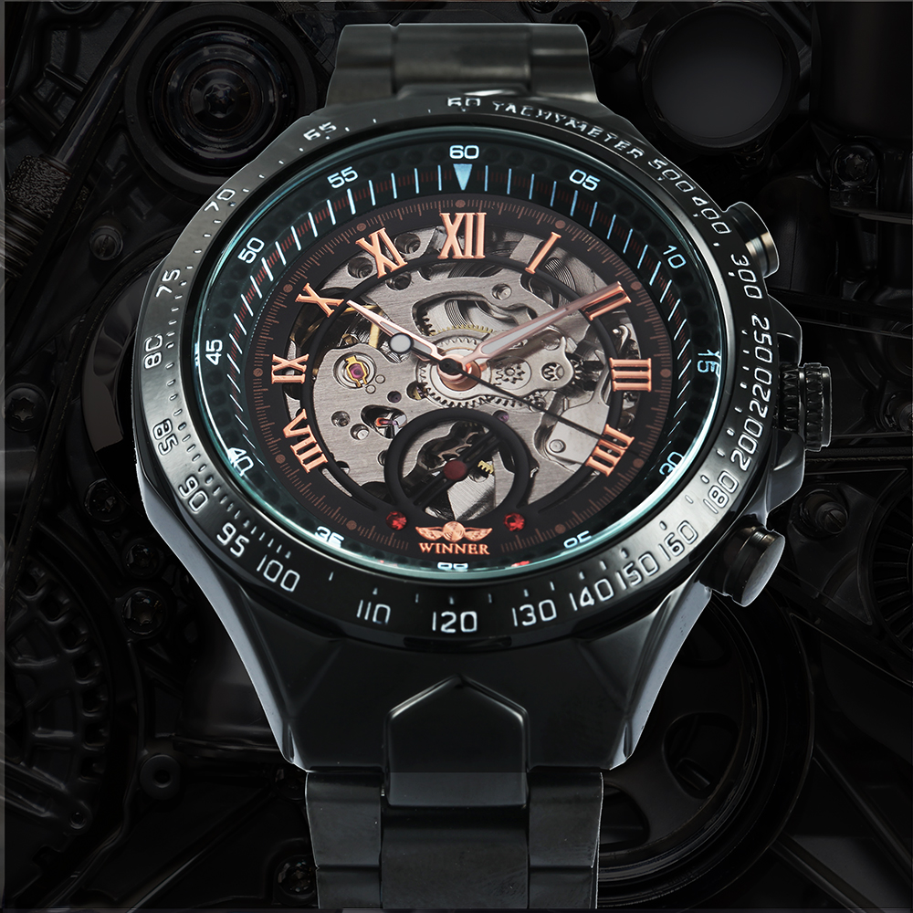 WINNER Vintage Fashion Men Mechanical Watches Metal Strap Top Brand Luxury Best Selling Vintage Retro Design Wristwatches +BOX 18