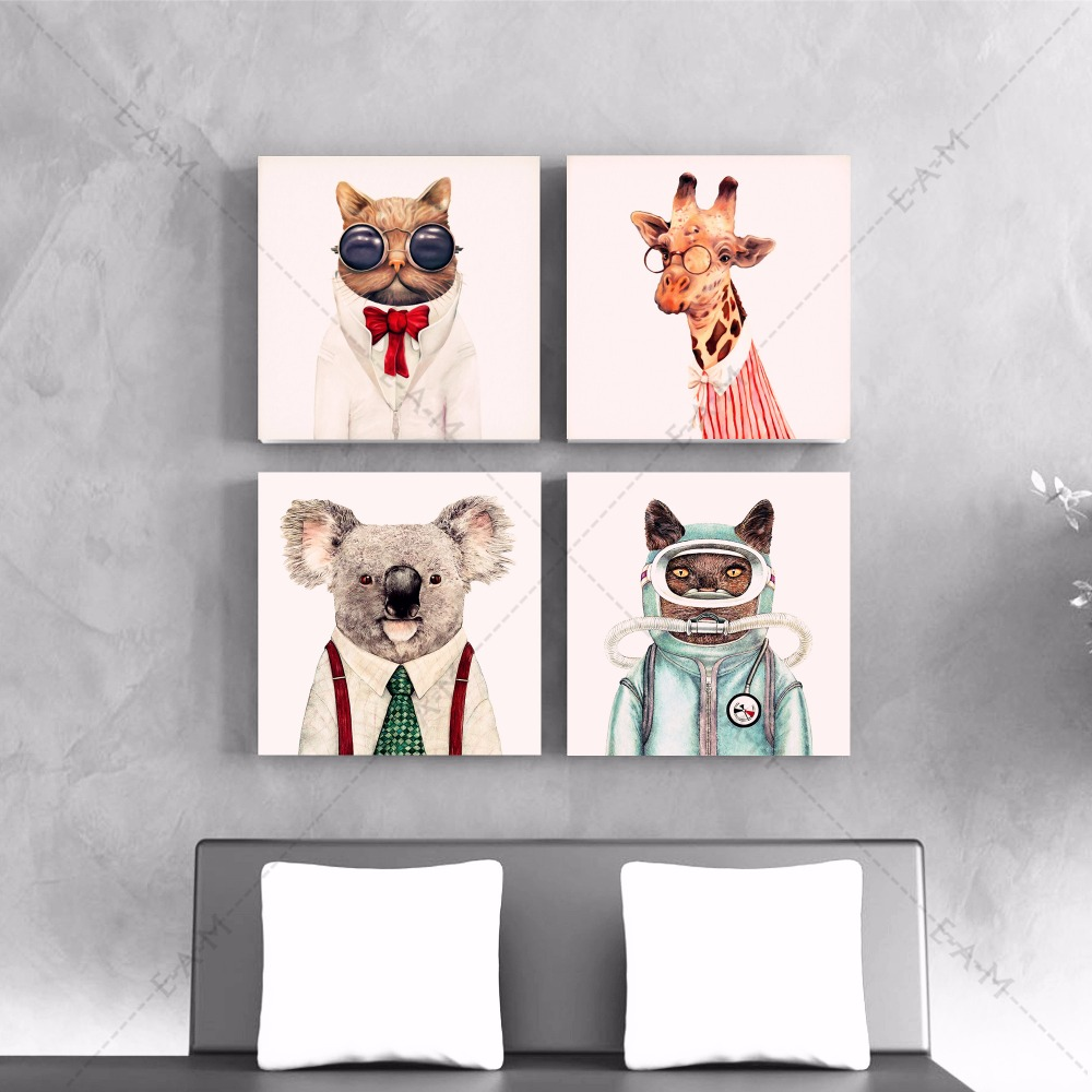 Funky Animal Illustration Canvas Art Print Painting Poster Wall Pictures For Kids Room Home