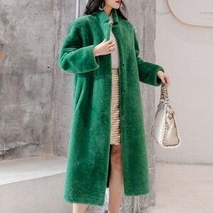 Image 2 - Kış bayan 100% gerçek Merinos Koyun Kürk ceket uzun stil çift yüzlü hakiki kuzu kürk giyim zarif kadınlar kış sıcak tutan kaban