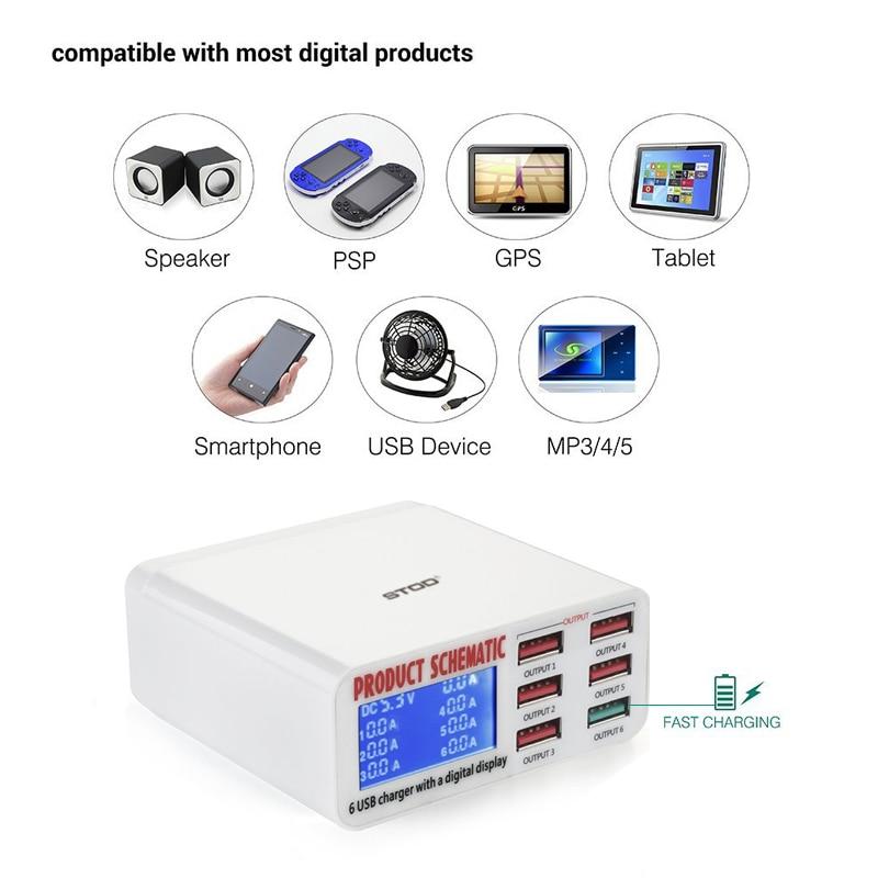 STOD 6 Port USB Charger 40W LCD Display Pengisian Cepat 3.0 Desktop - Aksesori dan suku cadang ponsel - Foto 6