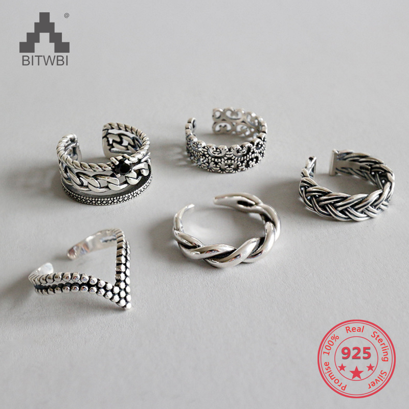 100% S925 Sterling Silver Rings For Women Elegant Classic Geometric Twist Knuckle Adjustable Rings Set Fashion Jewelry