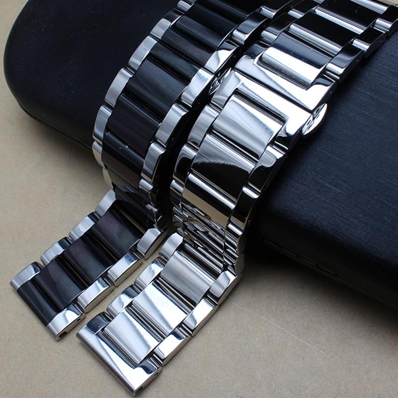 Polished metal black silver Watchband 20mm 22mm 24mm Stainless Steel Watch Band Strap Men Silver Bracelet Replacement Solid Link цены