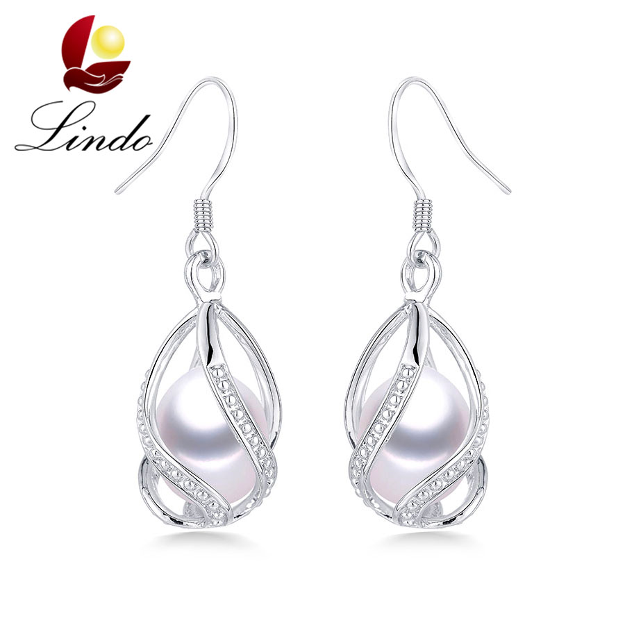 Lindo Hot Selling 925 Sterling Silver Drop Earrings For Women Fashion Cage DIY Natural Freshwater Pearl Jewelry High Quality