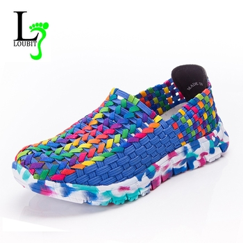 Women Shoes Summer Flats Female Loafers Women Casual Flat Woven Shoe Brethable Sneakers Slip On Colorful Shoe Mujer Plus Size 41