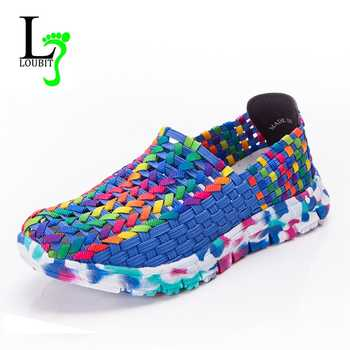 Women Shoes Summer Flats Female Loafers Women Casual Flat Woven Shoe Breathable Sneakers Slip On Colorful Mujer Plus Size 41