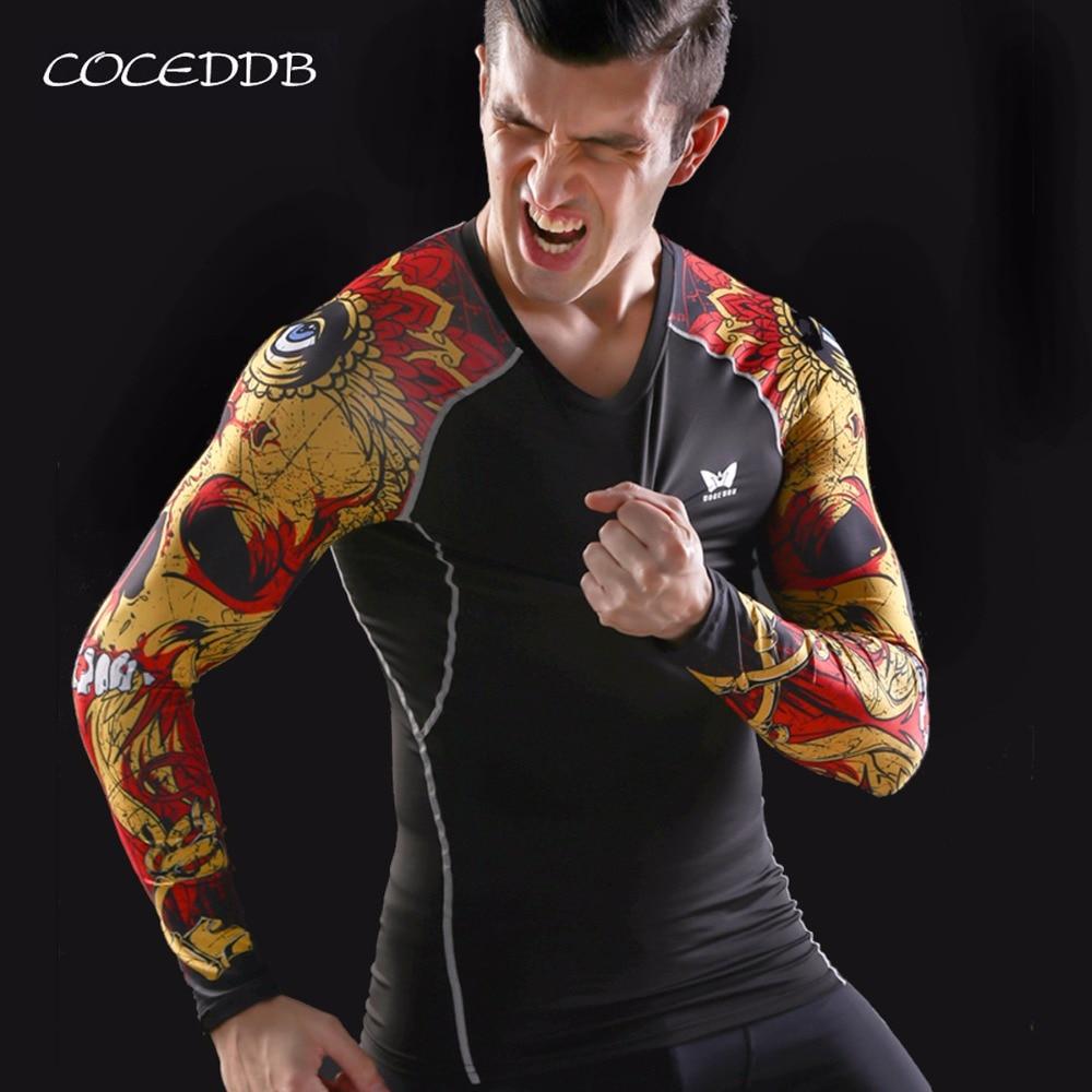 Muskel Männer Kompression Enge Haut Shirt Lange Ärmel 3D Druckt - Herrenbekleidung