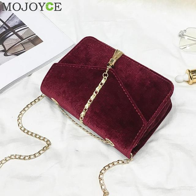 Retro Gold Velvet Crossbody Bag Women Elegant Long Chain Shoulder