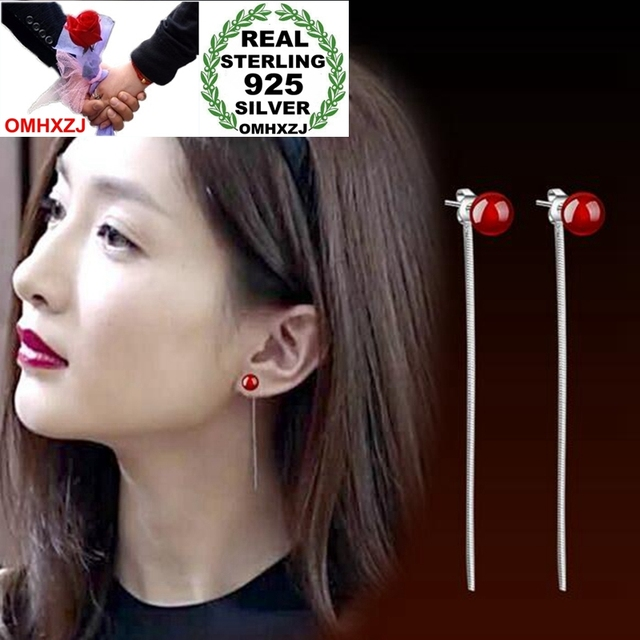 OMHXZJ Wholesale Simple Fashion joker for Woman Gift Red Black Agate Pearl 925 Sterling Silver Long Tassel Stud Earrings YS249-in Earrings from Jewelry & Accessories on Aliexpress.com | Alibaba Group