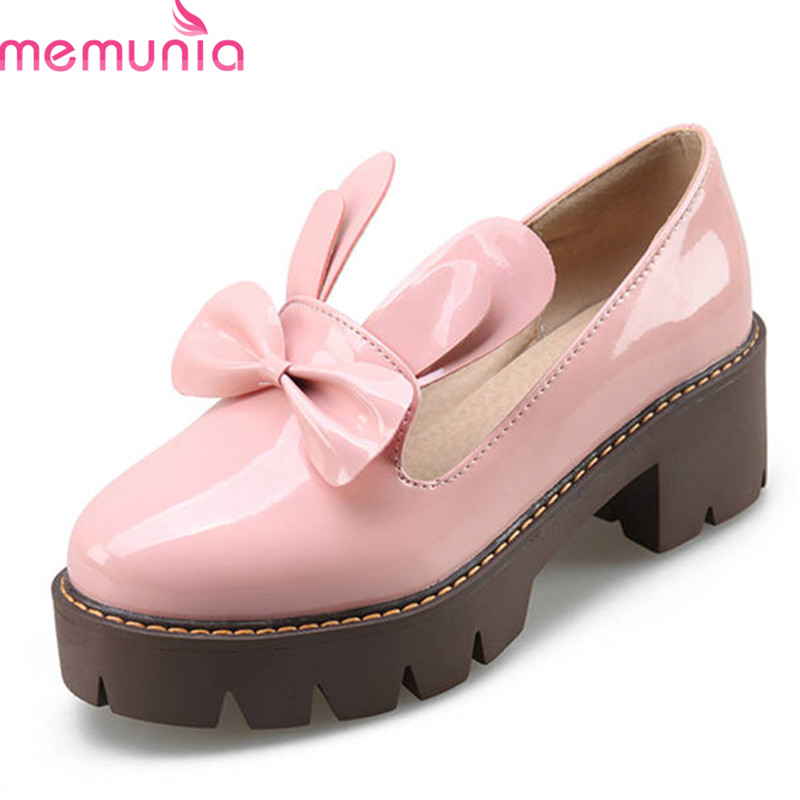 MEMUNIA 2018 new style women pumps round toe sweet solid color summer shoes platform high heels shoes casual punk shoes woman 2016 new wedges platform shoes with comfort women bowtie buckle casual shoes sweet solid pumps round toe large size shoes