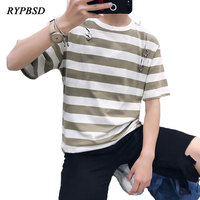New Arrival 2018 Summer Men Korean Short Sleeve Ripped Hole Metal Ring Oversized Hip Hop Striped