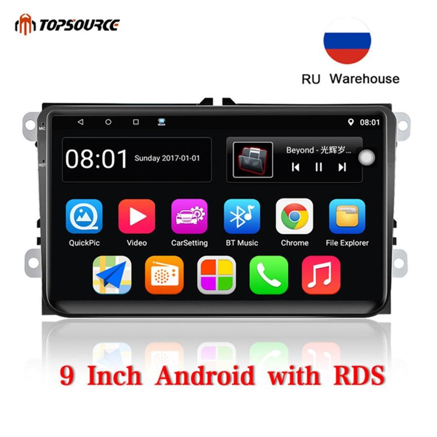 Lecteur multimédia de voiture TOPSOURCE 9 pouces Android 2 Din avec GPS Wifi RDS autoradio pour VW/Volkswagen/POLO/PASSAT/Golf/Skoda/Fabia