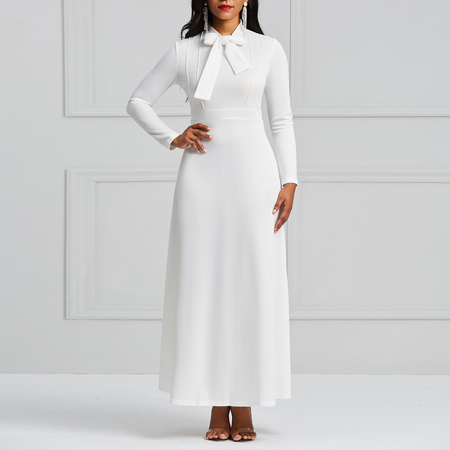 Clocolor White Long Dress Women Antumn Spring Long Sleeve Bowknot Plain Simple Office Ladies Evening Party Elegant Maxi Dress