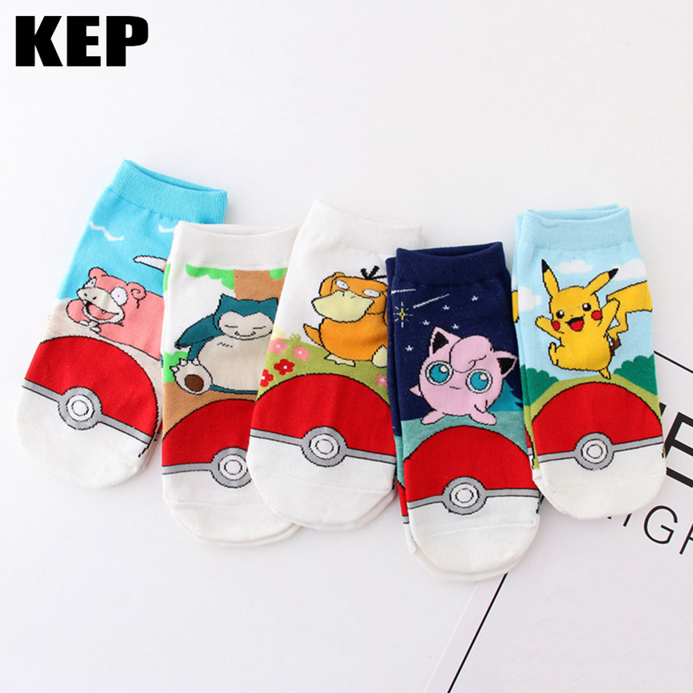 Women Socks Kawaii Harajuku Anime Pokemon Pikachu Socks 3D Printed Cartoon Ankle Socks Dog Psyduck Squirtle 2019 New Style