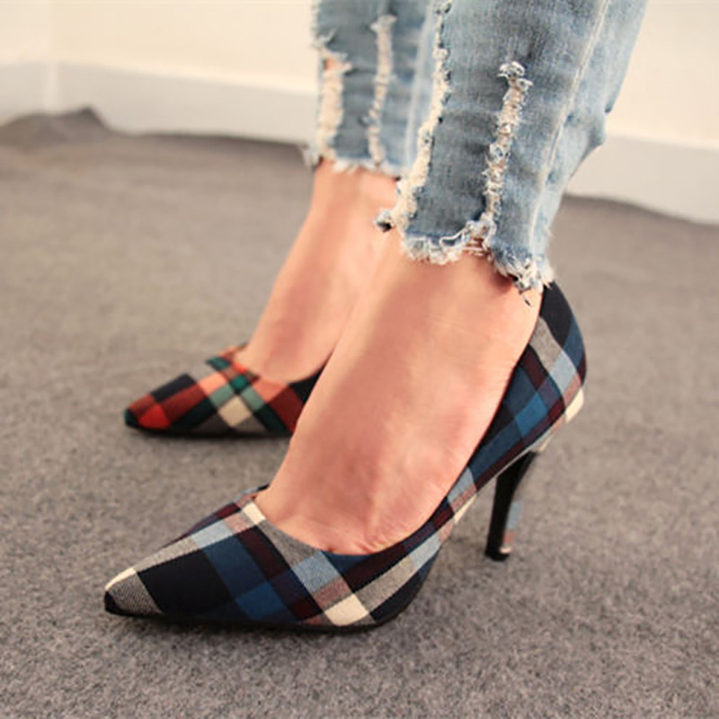 Sale Womens Striped Plaid Pointed Toe Stiletto High Heels Party Shoes Blue Pumps Orange China Size 36 2015 35-40 7633 - New Fashion store
