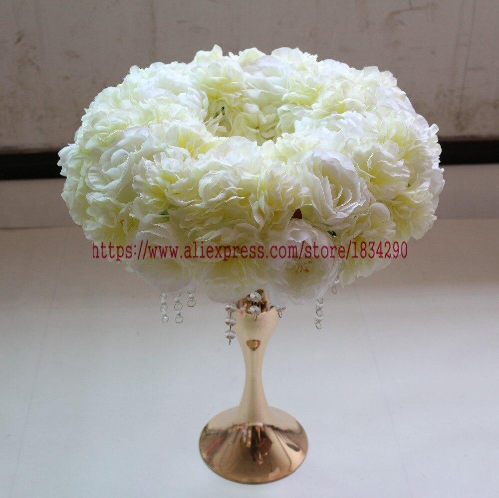 Ev ve Bahçe'ten Yapay ve Kurutulmuş Çiçekler'de Yapay gül halka çelenk Düğün dekorasyon masa centerpiece çiçek topu Kemer çiçek 45 cm 10 adet/grup Mix Renk'da  Grup 1