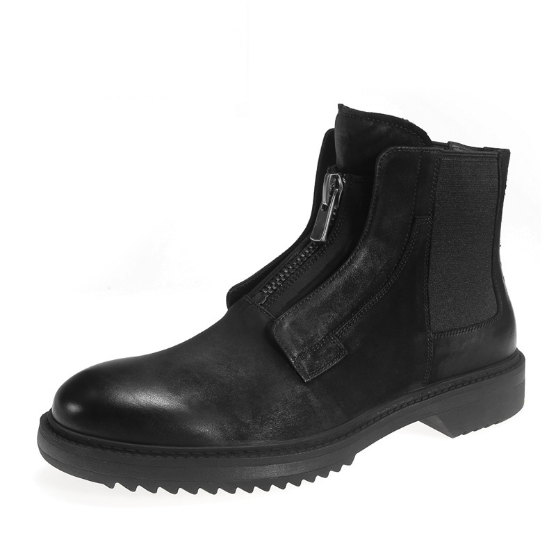 Men Ankle Boots High Luxury Trainers Genuine Leather Chelsea Winter Zip Snow Male Black Plush Boots Casual Flats ShoesMen Ankle Boots High Luxury Trainers Genuine Leather Chelsea Winter Zip Snow Male Black Plush Boots Casual Flats Shoes