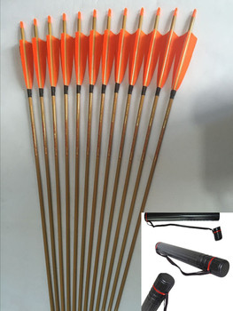 """Bamboo skin Carbon arrow ID6.2mm Spine500 with 5"""" Turkey fletching  Nock+ arrow holder for traditional bow archery"""
