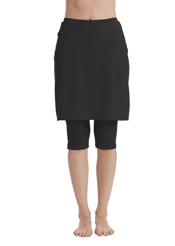 Bonverano(TM) Women' Black Swimwear skirt with leggings kasper women s seamed flared crepe skirt 8 black