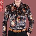 Chinese style shirt male lansdowne pattern print long-sleeve personalized plus size shirt gold velvet shirt male