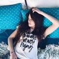 KMD KOMODA Letra Impresa Camiseta Blanca Básica de Cuello Redondo Camiseta Femenina Elegante Casual Breve Top de Las Señoras