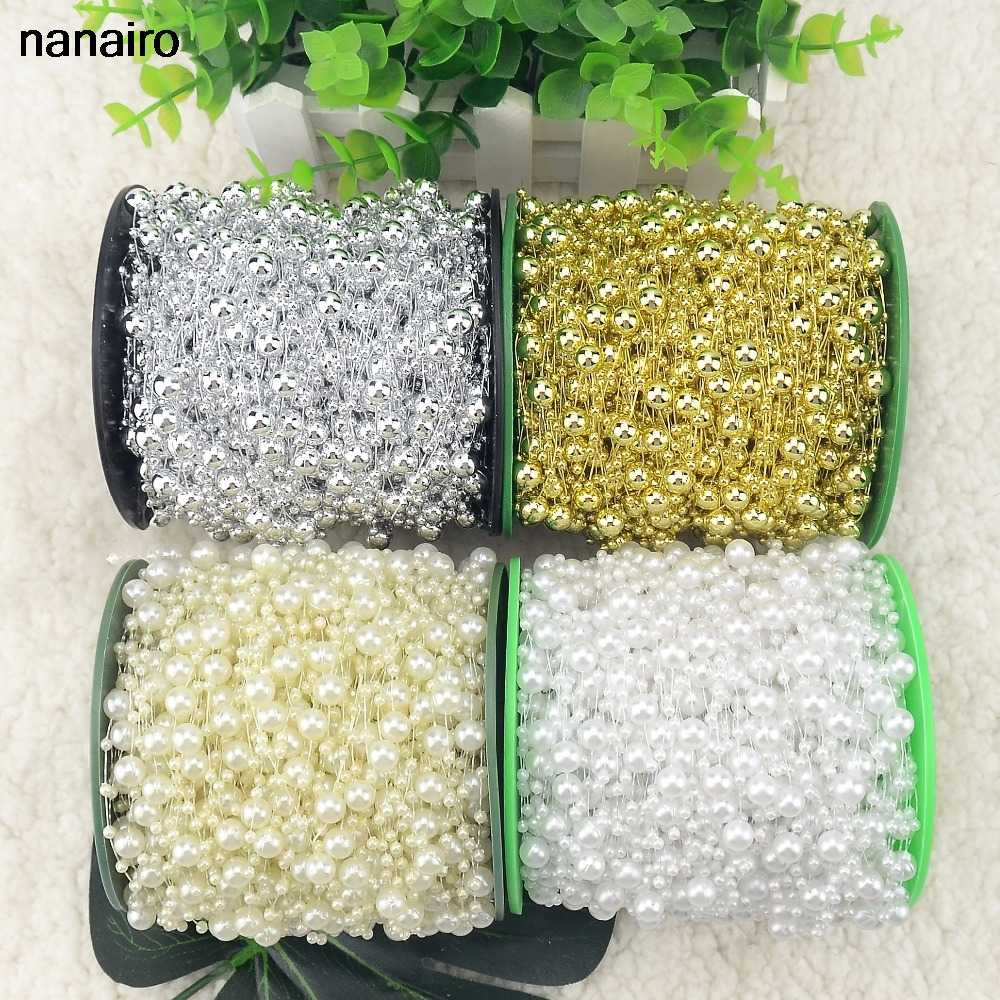 5M/Lot Gold/White/Silver Fishing Line Artificial Pearls Beads Chain Garland Flowers For Wedding Bridal Bouquet Flower Decoration